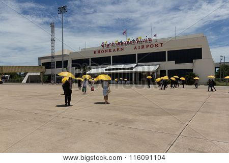 Khon Kean ,Thailand - AUG 24,2015 : Nok Air airline and passenger at Khon Kean Airport on August 242015 in Thailand.