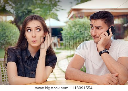 Curious Girl Listening to Her Boyfriend Talking on The Phone