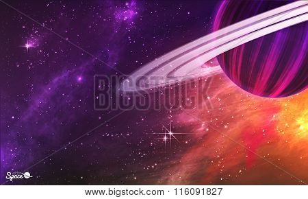 Saturn-like planet with asteroid belt on colorful outer space background. Vector illustration.