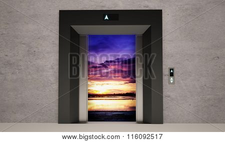 modern elevator open door with nature landscape ** Note: Visible grain at 100%, best at smaller sizes