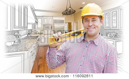 Smiling Contractor in Hard Hat with Level Over Custom Kitchen Drawing and Photo Combination.