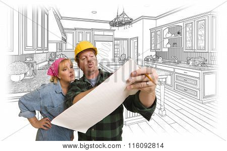 Male Contractor in Hard Hat Discussing Plans with Woman, Kitchen Drawing Behind.