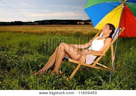 chilling in a sunchair