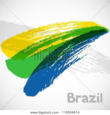 Brazil abstract background with grunge paint strokes in color of flag. Design for covers, brochure,