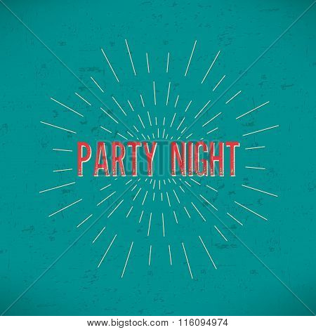 Abstract Creative concept vector design layout with text - party night. For web and mobile icon isol
