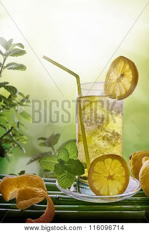 Refreshing Drink With Mint And Lemon In Nature Vertical Composition
