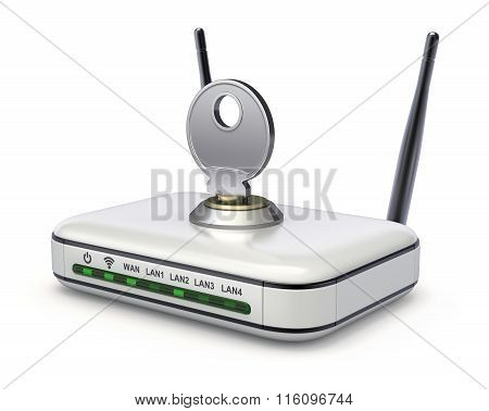 Wireless router with the key
