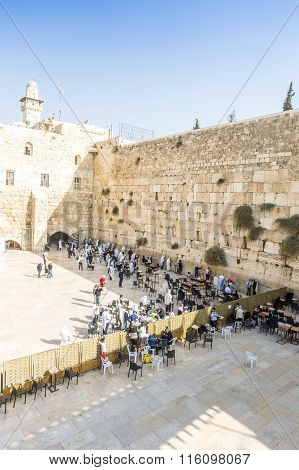 People Praying At Western Wall, Jerusalem