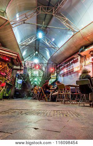 People Enjoying Nightlife In Restaurants And Bars In Jerusalem