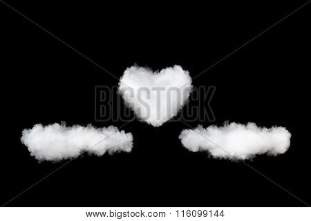 clouds and heart backdrop isolated on black