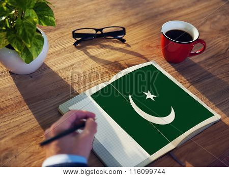 Pakistan National Flag Studying Reading Book Concept