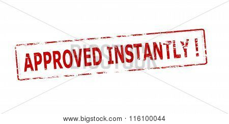 Rubber stamp with text approved instantly inside vector illustration