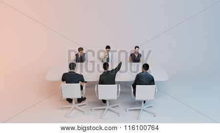 3d people - human character, person at conference table .