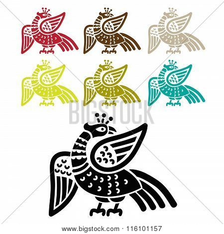 Silhouette Fire Bird Phoenix. Phoenix Ancient Symbol. Template To Icon, Logo, Print, With Options For Color. Isolated Vector Set.  Phoenix Images. Phoenix Bird Art. Phoenix Tattoo. Phoenix Charm.