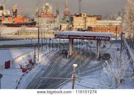 Russian Fuel Retailer Lukoil, Petrol Station In Saint Petersburg, Winter.