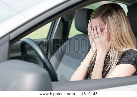 In Troubles - Unhappy Woman In Car