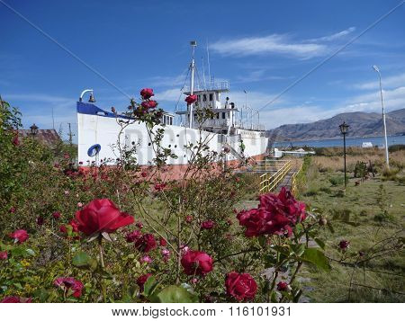 Boat At The Lakeside Titicaca In Roses
