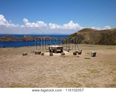 Mesa Ceremonial At Isla Del Sol At Lago Titicaca
