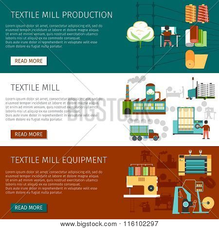 Textile Mill Flat Horizontal Banners Set