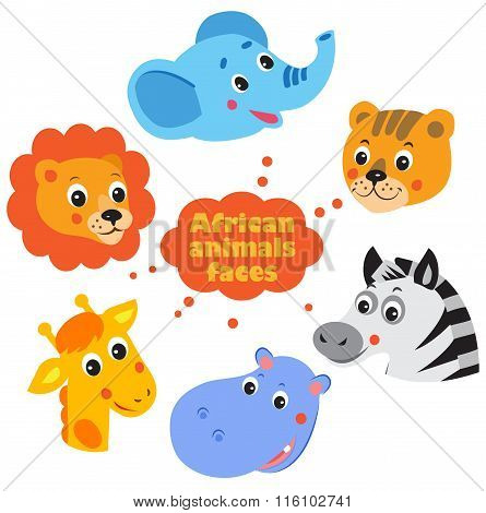 Animals faces icons set - elephant lion giraffe hippo zebra tiger.