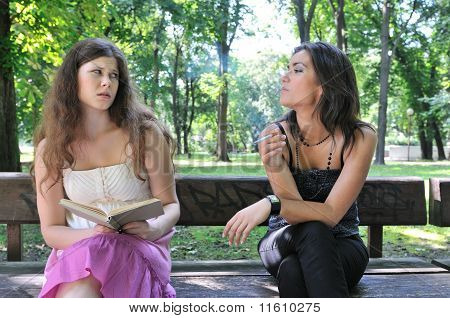 Young People Lifestyle - Annoying By Smoking Cigarette