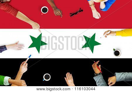 Syria National Flag Business Team Meeting Concept