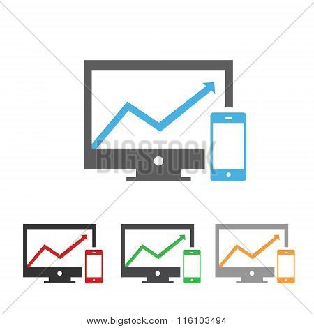 Computer screen with chart and smartphone icon