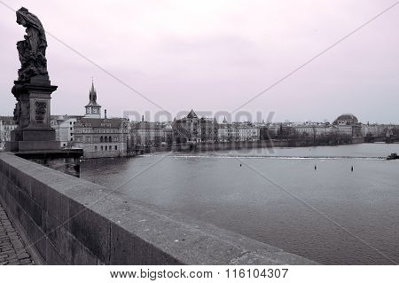 View Of The National Theatre And The Vltava River In Black And White