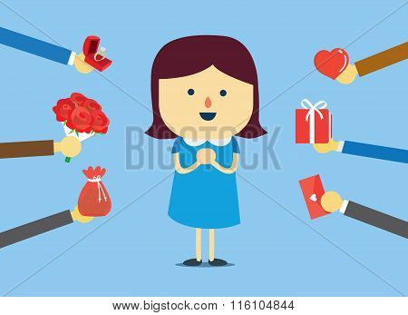 Popular woman get many gift