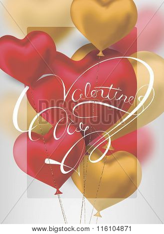 Valentine's Day background with heart shaped air balloons