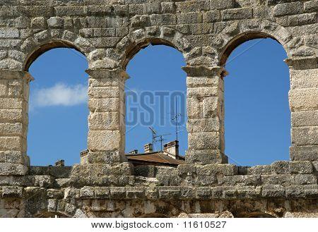 Roman Amphitheater, View Of The Arena (colosseum)  In Pula, Croatia