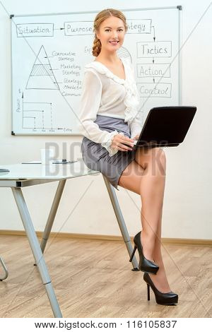 Portrait of a beautiful smiling businesswoman working in the office with a laptop.