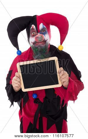 Madly Clown Holding A Slate With Copyspace, Isolated On White