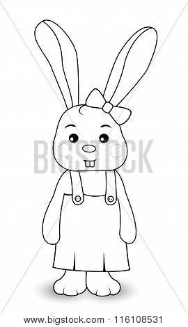 Rabbit Girl In Overalls