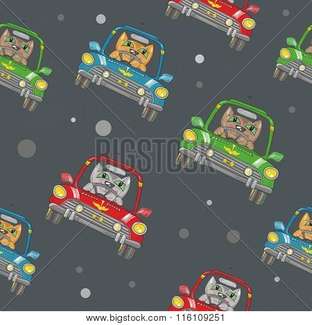 Seamless Vector Pattern with Cat Driving a Car