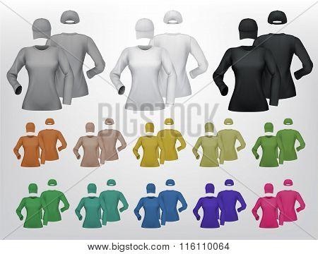 Plain female long sleeve shirt an cap template.
