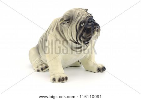 Statuette Of Dog Isolated On White Background Clipping Path