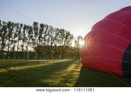 Morning start of a Hot air balloons