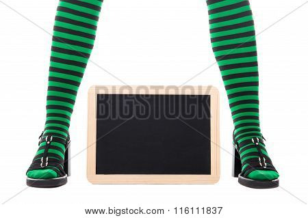 Green And Black Tights From A Witch Or Goblin Girl, Slate With Copyspace