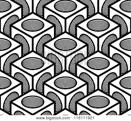 Seamless Optical Ornamental Pattern With Three-dimensional Geometric Figures. Intertwine Black And W