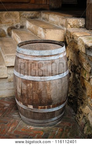 Old Wooden Barrel Outdoors
