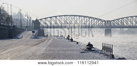 Prague city Czech Republic bank of river Vltava winter time