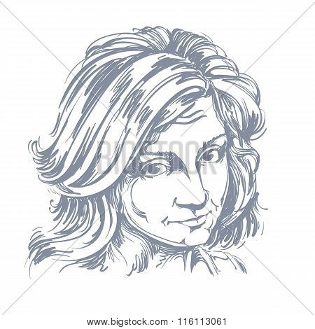 Artistic Hand-drawn Vector Image, Black And White Portrait Of Delicate Naïve Blameworthy Girl.
