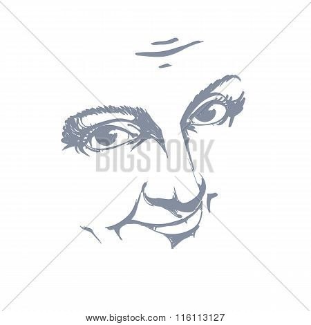 Black And White Illustration Of Lady Face, Delicate Visage Features. Eyes And Lips Of A Woman Feelin