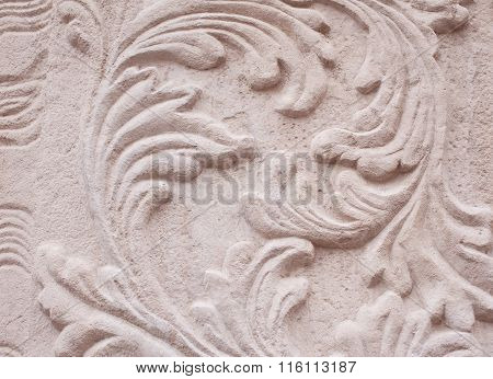 Lose-up Of Architectural Relief Pattern Plants