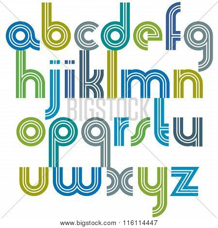 Colorful lowercase alphabet letters from a to z. Poster font