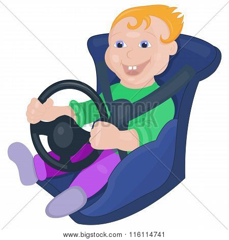 Little boy sitting on a baby car seat and holding a car steering wheel in his hands
