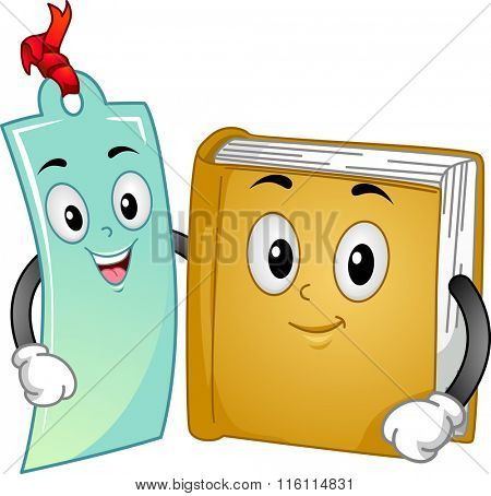 Mascot Illustration of a Book and a bookmark together