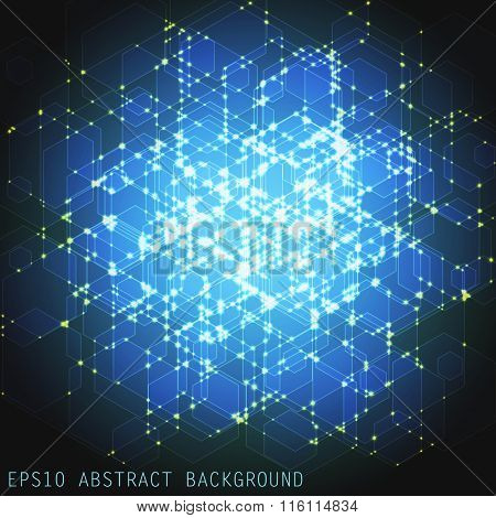 Abstract vector background. Lines and glowing intersections. Communication concept.