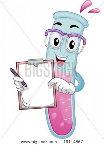 Mascot Illustration of a Test Tube Showing White Board